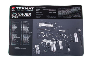 TekMat 17in handgun cleaning mat featuring an exploded view of the SIG Sauer P229 series of handguns dye sublimated graphic.