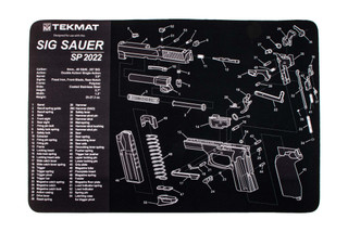 TekMat 17in handgun cleaning mat featuring an exploded view of the SIG Sauer SP2202 series of handguns dye sublimated graphic.