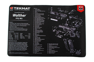TekMat 17in handgun cleaning mat featuring an exploded view of the Walther PPQ Mod2 series of handguns dye sublimated graphic.