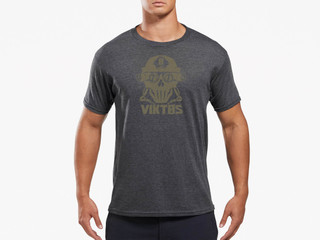 Viktos Four Eyes Short Sleeve T-Shirt in charcoal heather with screen printed logo