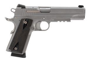 SIG Sauer 1911R 45 ACP pistol features a stainless steel finish