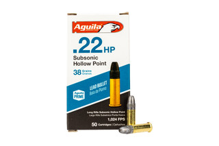 Aguila .38 grain .22 LR subsonic ammo in 50-round box