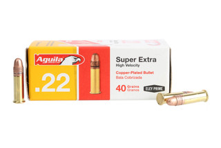 The Aguila Ammo .22 lr Super Extra with 40 grain copper plated round nose projectile is designed for target shooting