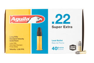 Aguila standard velocity 22 long rifle rimfire ammo features a 40 grain lead round nose bullet