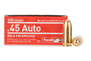 Aguila .45 ACP ammunition is a loaded 230 grain full metal jacket bullet round with brass casing