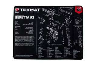 TekMat 20in premium handgun cleaning mat featuring an exploded view of the Beretta 92 series of handguns dye sublimated graphic.