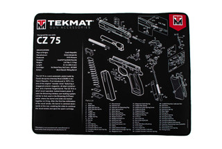 TekMat 20in premium handgun cleaning mat featuring an exploded view of the CZ-75 series of handguns dye sublimated graphic.
