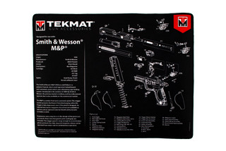 TekMat 20in premium handgun cleaning mat featuring an exploded view of the S&W M&P series of handguns dye sublimated graphic.