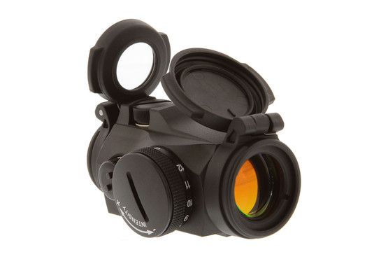 Aimpoint T2 micro red dot sight features a 2 MOA reticle and flip-up protective lens covers