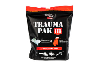 The Adventure Medical Kits Trauma Pak Level 3 includes a pressure pad and bandage