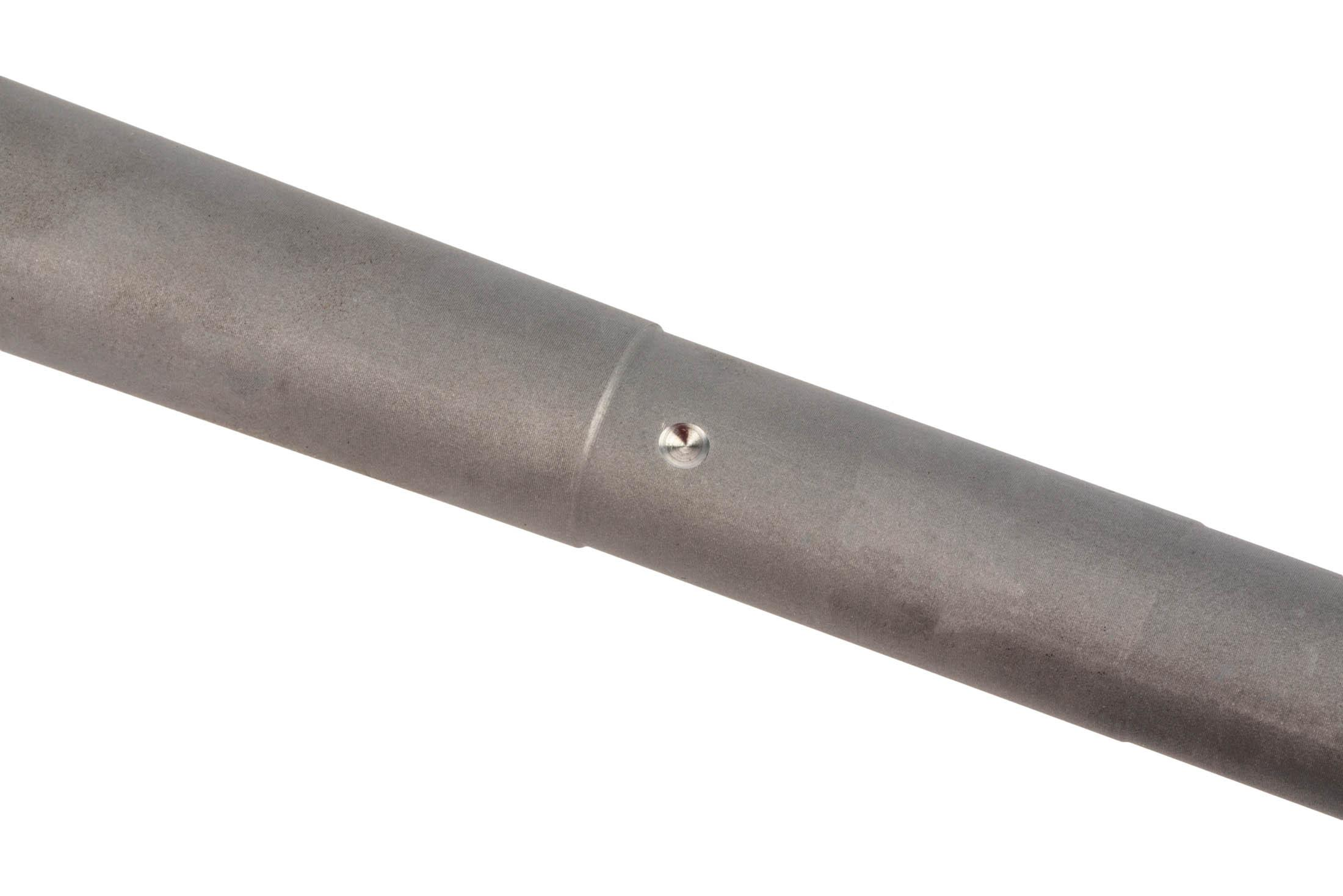 The Sons of Liberty Gun Works AR-308 barrel features a dimple for set screw gas blocks