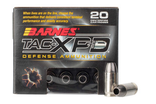 Barnes TAC-XPD 380 ACP lead free hollow point defense ammunition is loaded with an 80 grain bullet