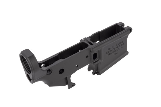 Knight's Armament stripped AR-15 lower is forged aluminum with a proper Type 3 Class 2 MIL-SPEC hardcoat anodized finish