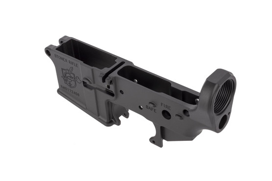 Knights Armament stripped forged SR-15 / AR-15 lower receiver features standard FIRE and SAFE selector markings
