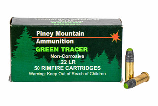 Piney Mountain 22 lR Green Tracer Ammo comes in a box of 50 rounds
