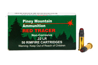 Piney Mountain 22LR Red Tracer Ammunition comes in a box of 50 rounds