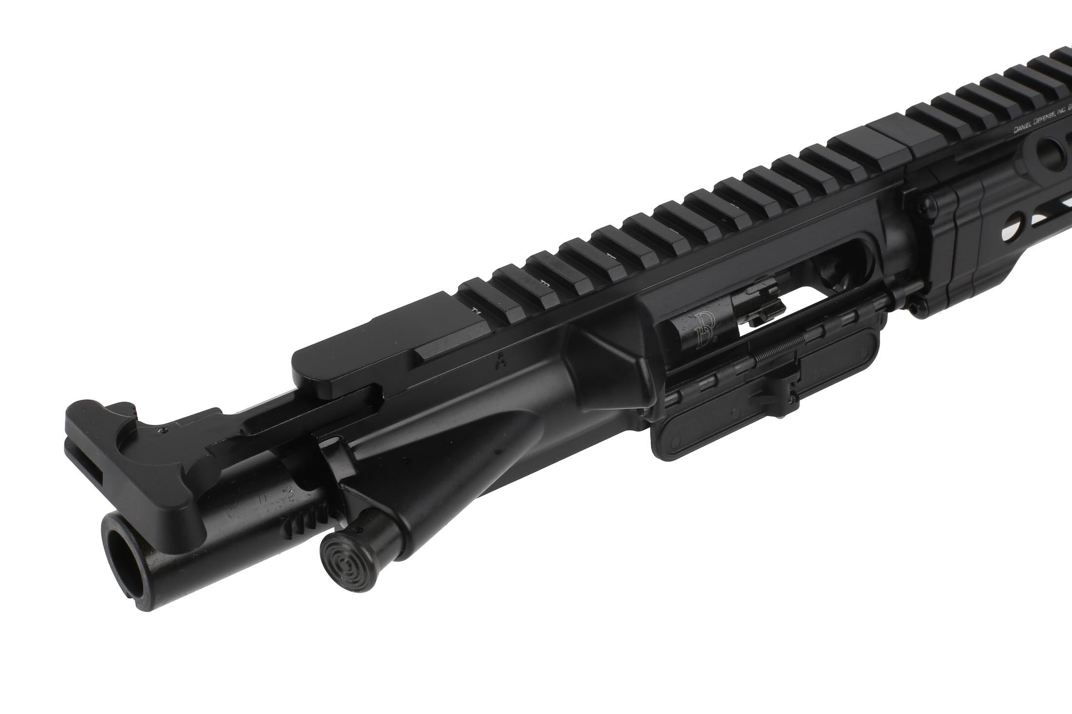 The DDM4 v7 Daniel defense ar15 complete upper receiver has a standard charging handle and M16 bcg