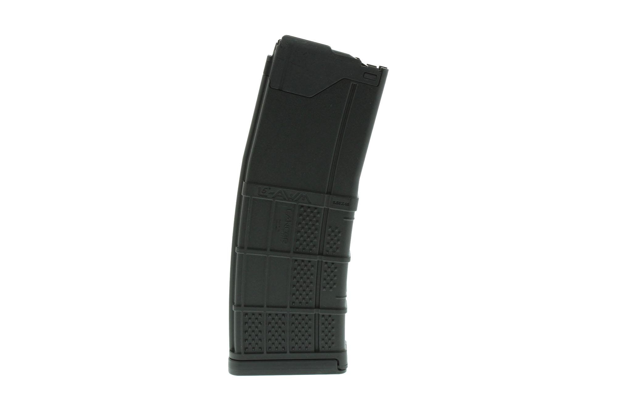 The L5AWM ar15 magazine from lancer systems has a 30 Round capacity with 5.56 nato and .223 ammunition and steel feed lips