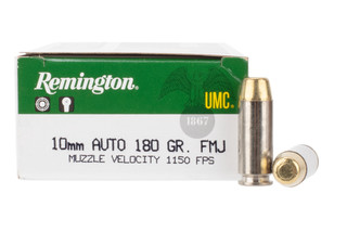 Remington UMC 10mm auto 180 grain full metal jacket flat point ammo comes in a box of 50
