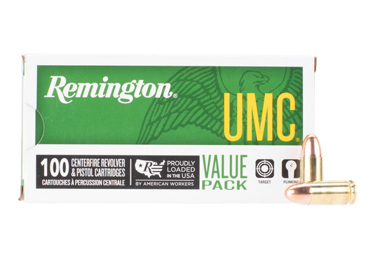 Remington UMC 9mm FMJ ammo comes in a box of 100 rounds