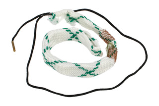 Hoppe's BoreSnake Den 12 gauge shotgun bore cleaner features dual brass brushes and a caliber marked carrier.