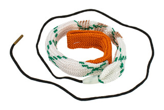 Hoppe's BoreSnake Viper Den 12 gauge shotgun bore cleaner features dual brass brushes and a caliber marked carrier.