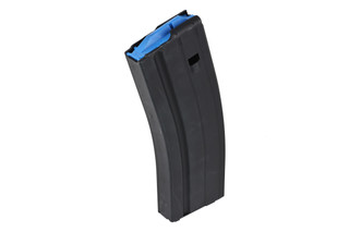 The Ammunition Storage Components 6.5 Grendel Magazine holds 25 rounds of ammunition and features a blue follower