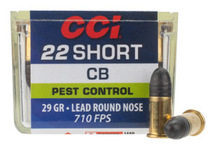 CCI 22 Short 29gr Lead Round Nose Ammo has a brass case
