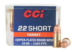 CCI 22 Short ammo features a copper plated round nose bullet