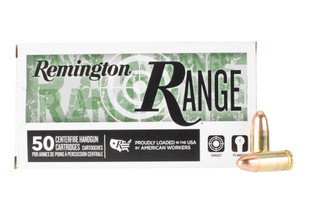 Remington Range 9mm 115 grain ammo features a full metal jacket bullet