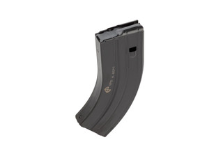 C Products stainless steel 28-round magazine for 6.8 SPC caliber AR-15s features a slick black finish and grey anti-tilt follower