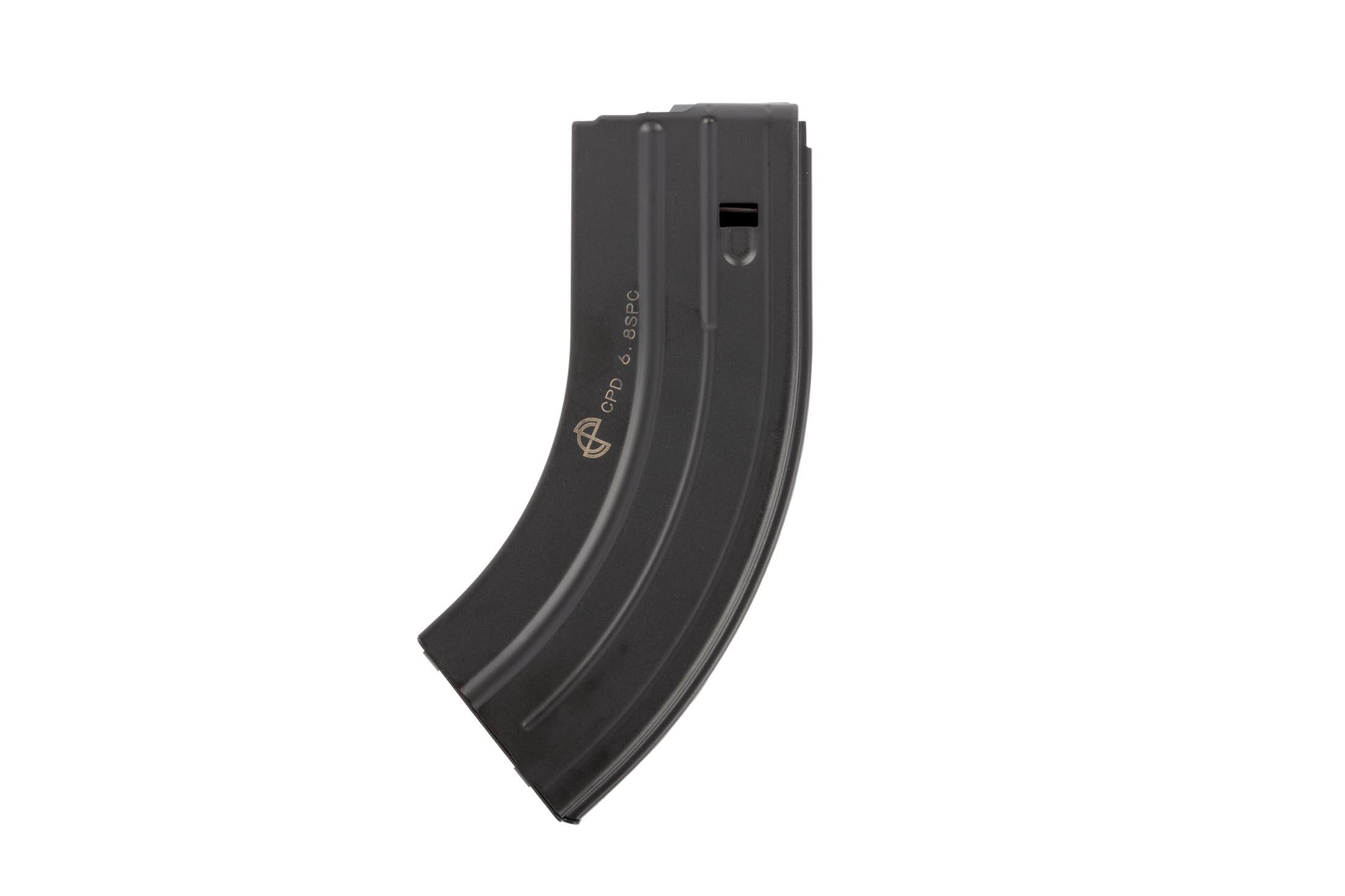 C Products 28-round 6.8 SPC magazine is stamped from high strength stainless steel and compatible with AR-15s