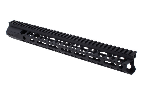 "2A Armament 15"" builders series black AR-15 rail features M-LOK slots and integarted QD sling swivel sockets."