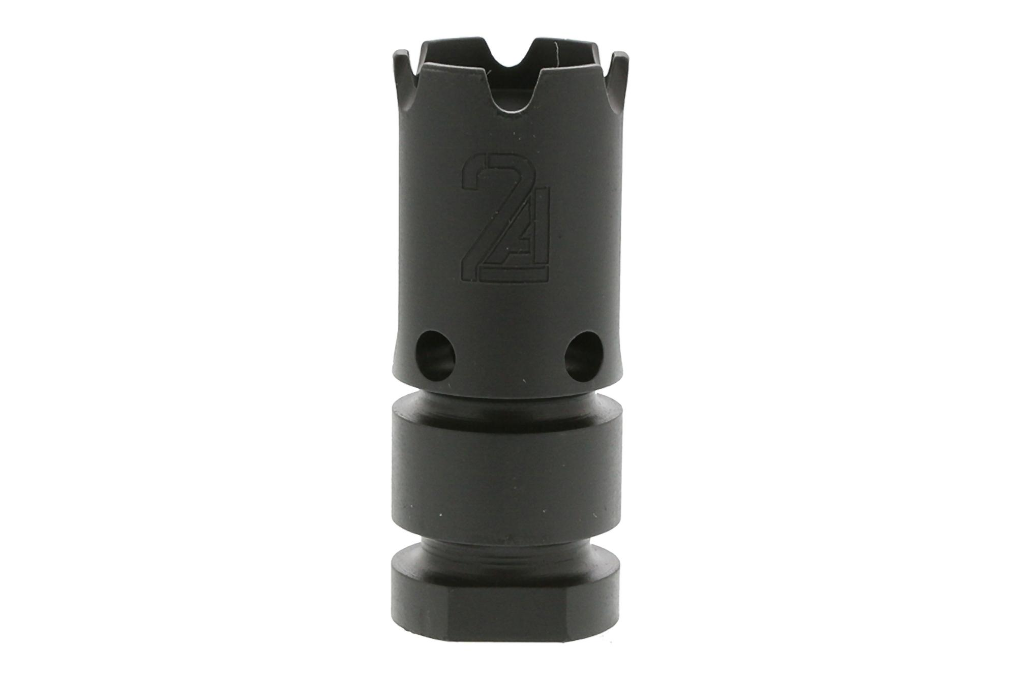 The 2A Armament T3 556 compensator vents gas upward to reduce muzzle rise