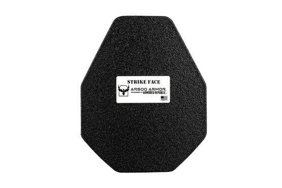 "AR500 10"" x 12"" lightweight Level III+ multi-curved steel core armor plate with base coat and advanced shooters cut"