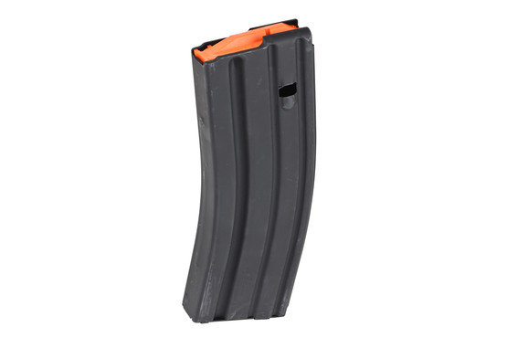 The Ammunition Storage Components 5.56 NATO Magazine is made from stainless steel with a bright orange follower