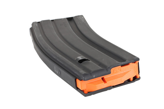 The Ammunition Storage Components 5.56 AR-15 magazine with orange follower uses heat treated stainless steel follower springs