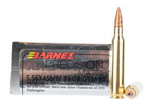 Barnes Precision 5.56 NATO ammo offers a brass cased 85 grain OTM boat tail round
