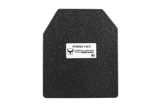 "AR500 10"" x 12"" Level III flat steel core armor plate with Line-X antispall coat and advanced shooters cut"