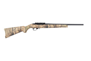 Ruger 1022 rimfire rifle features a camo synthetic stock