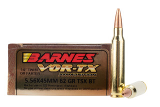Barnes VOR-TX 5.56 NATO 62gr TSX Boat Tail Ammo has a brass casing