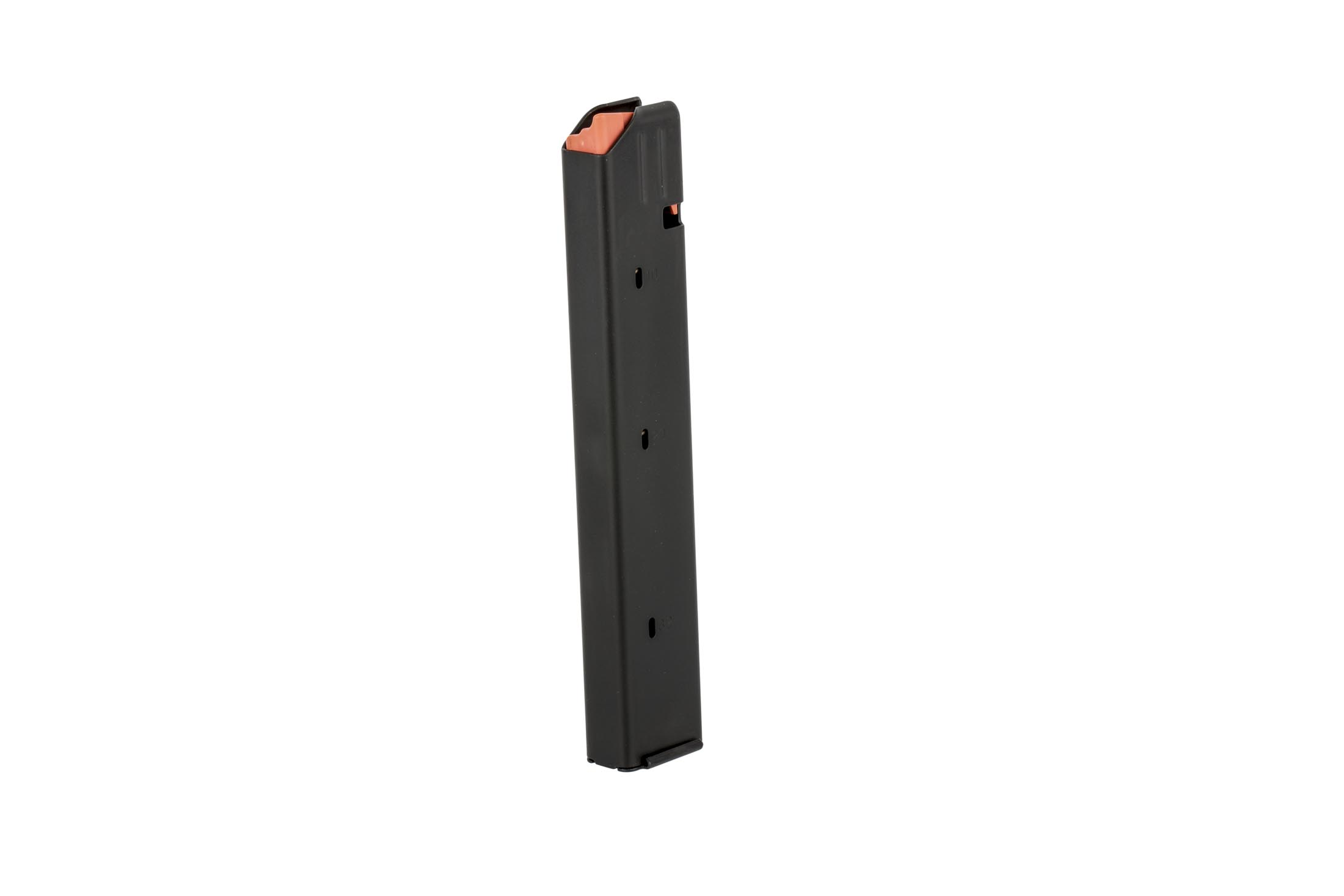 C Products Stainless Steel 32-round Colt style 9mm magazine with high visibility orange follower