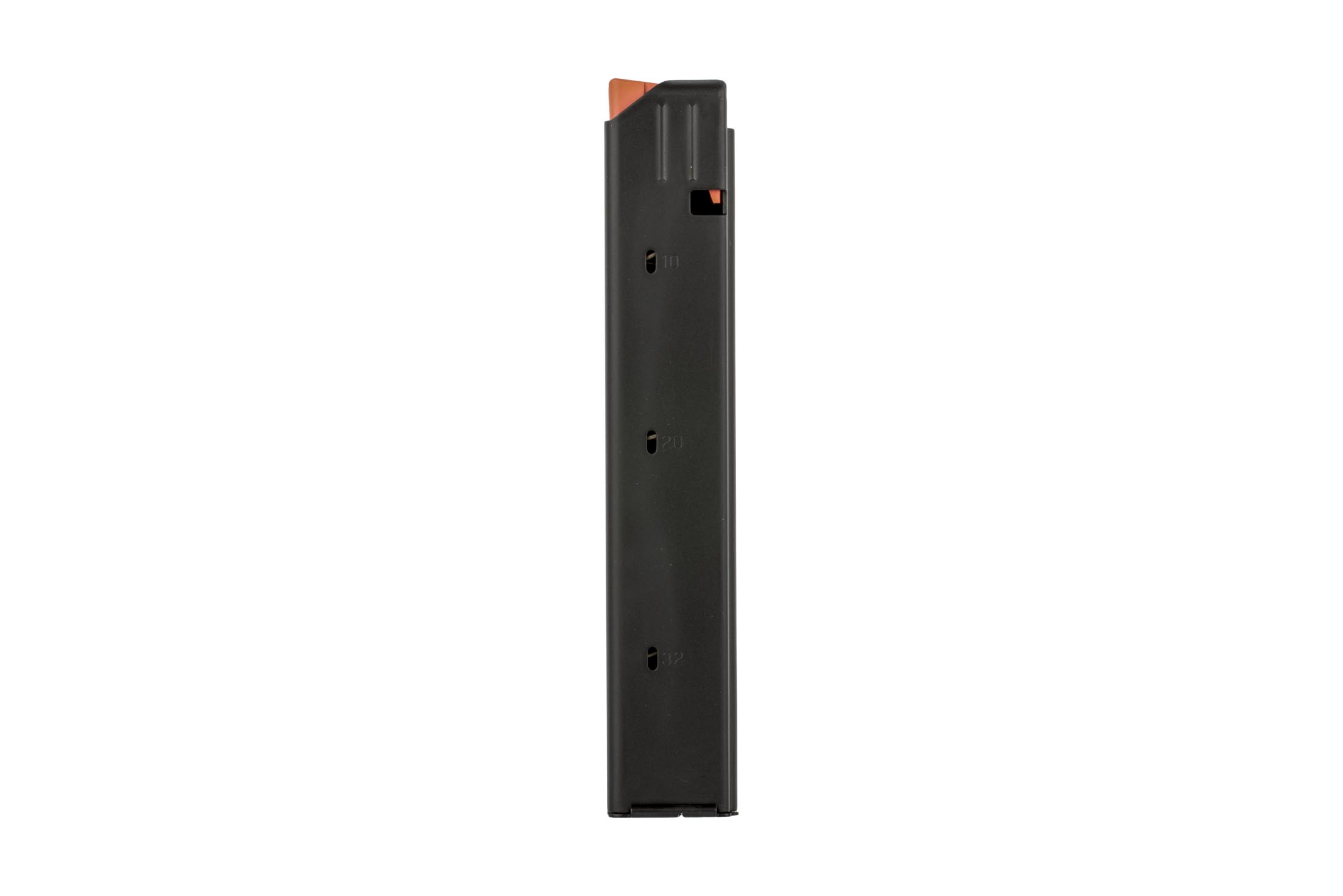 C Products 32-round stainless steel magazine with orange follower for 9x19mm is stamped from 400-series steel