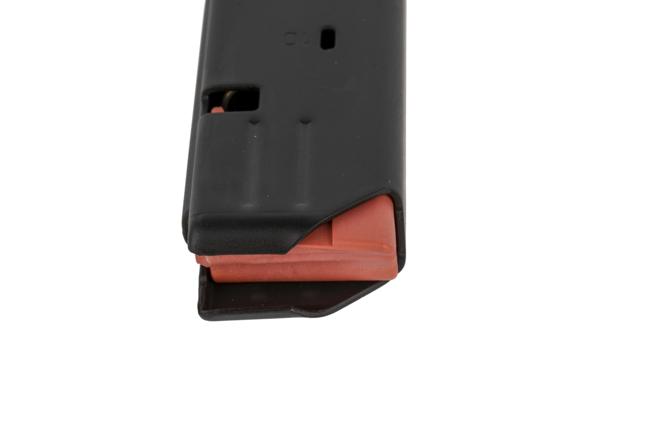C Products Colt-style 32-round SMG magazine stamped from 400-series stainless steel with a bright orange follower