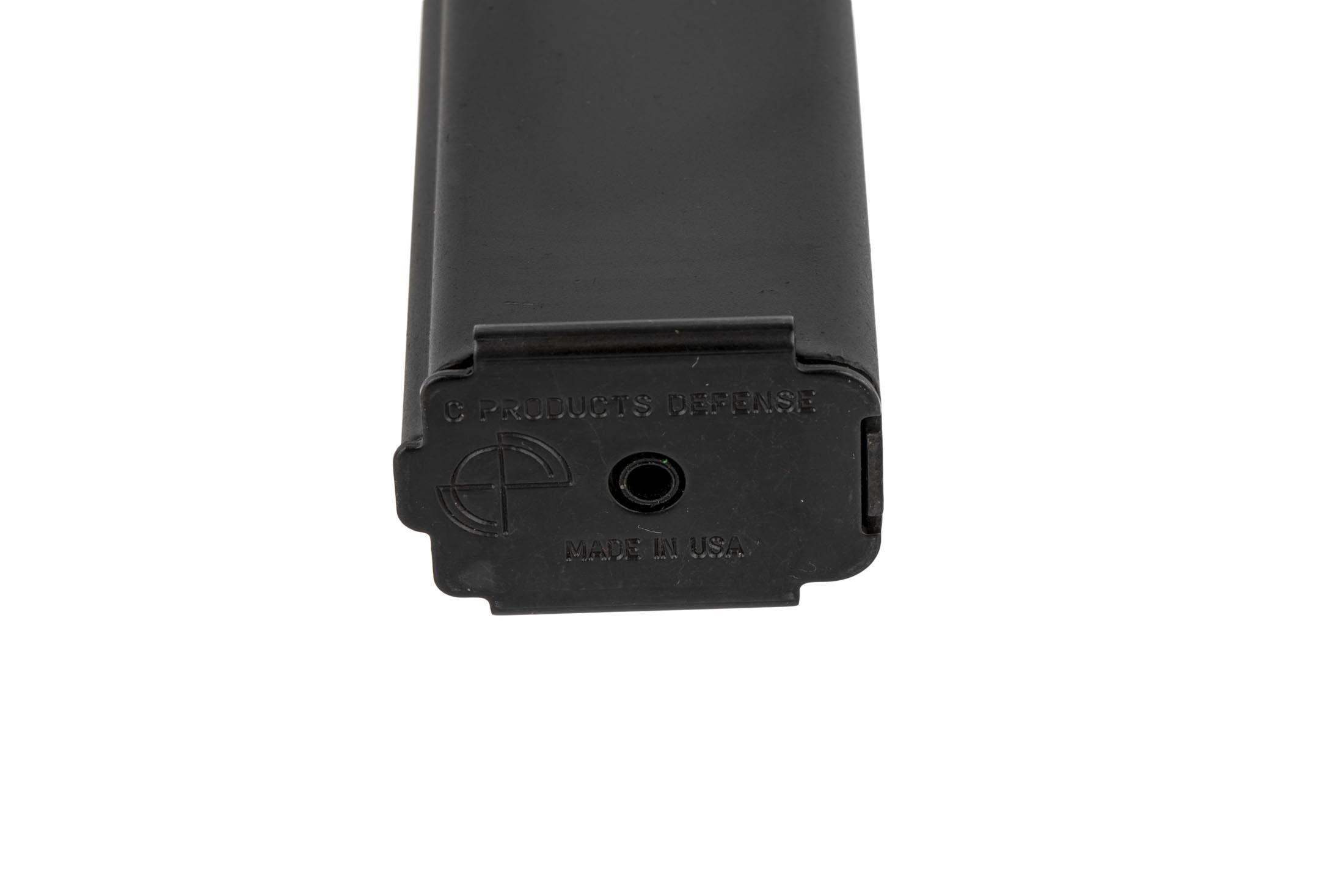 C Products 9x19mm 32-round stainless Colt-Style magazine features a stamped floor plate for easy disassembly