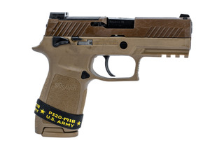 SIG Sauer P320 M18 compact 9mm handgun with coyote brown finish