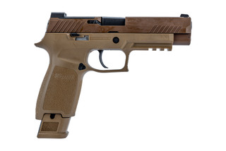 SIG Sauer P320 M17 9mm handgun without manual safety in coyote brown.