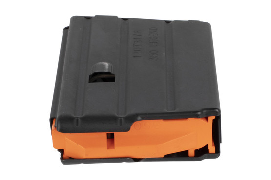 The CMMG 350 Legend 10 round magazine features an orange anti tilt follower