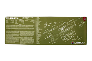 TekMat 36in ODG rifle cleaning mat featuring an exploded view of the M1 Garand series of rifles dye sublimated graphic.