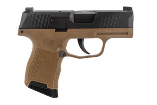 SIG Sauer P365 9mm sub compact pistol features a flat dark earth frame